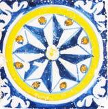 传统瓦片的细节从老房子门面的  装饰瓦片 瓦伦西亚语传统瓦片 花饰 库存图片