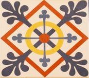 传统瓦片的细节从老房子门面的  装饰瓦片 免版税库存图片