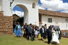 传统盖丘亚族人的婚礼 秘鲁 免版税库存图片