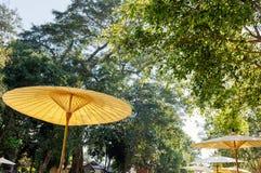 传统竹伞在庭院里 库存照片