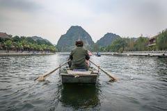 传统竹小船越南 免版税图库摄影
