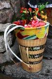 传统篮子的老挝人 库存照片