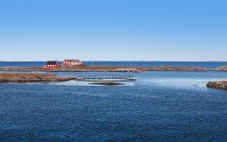 传统红色木房子,挪威 免版税图库摄影