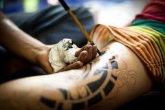 传统纹身花刺竹子 库存图片