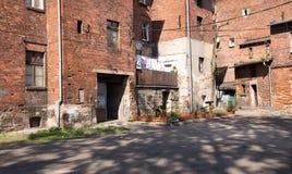 传统老砖房子在扎布热 免版税库存图片