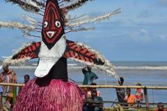 传统舞蹈屏蔽节日巴布亚新几内亚 免版税库存照片