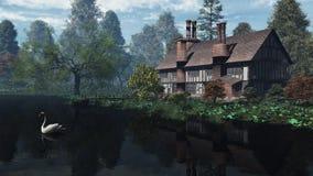传统英国房子庄园的河沿 图库摄影