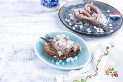 传统荷兰鲱鱼,用葱和鱼多士肥胖内圆角  健康的食物 健康的食物 复制空间 免版税图库摄影