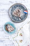 传统荷兰鲱鱼,用葱和鱼多士肥胖内圆角  健康的食物 健康的食物 复制空间 库存图片