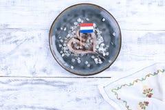 传统荷兰鲱鱼,用葱 鱼肥胖内圆角  健康的食物 健康的食物 复制空间 免版税库存图片
