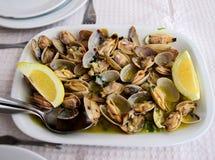 传统葡萄牙盘,蛤蜊用大蒜,额外处女橄榄油和柠檬 图库摄影
