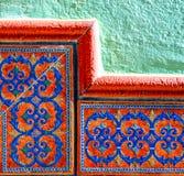 传统装饰西班牙装饰瓦片,原始的cerami 免版税图库摄影