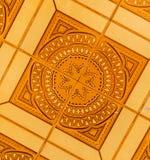 传统装饰西班牙装饰瓦片,原始的cerami 免版税库存照片