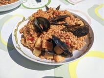 传统西班牙海鲜肉菜饭 免版税库存照片
