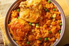 传统辣巴西食物:在a的鸡肉和大米特写镜头 免版税库存照片