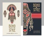 传统非洲面具 种族样式卡片模板, boho商店,名片 免版税库存照片