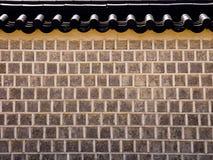 传统韩国建筑学,石墙在景福宫宫殿,汉城,韩国 库存照片