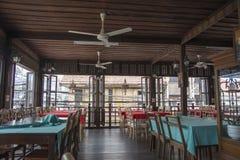 传统餐馆内部在泰国 免版税库存图片