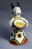 传统黏土玩具口哨母牛饼 库存图片