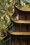 传统1个中国金黄屋顶的寺庙 库存图片