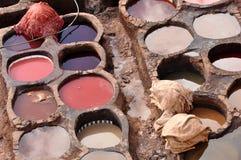 传统fes的皮革厂 库存照片