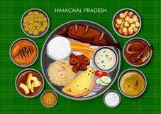 传统Himachali烹调和食物膳食thali 库存例证