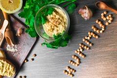 传统Hummus或houmous,开胃菜由与tahini,香橼,大蒜,橄榄油,荷兰芹,小茴香的被捣碎的鸡豆制成 库存照片