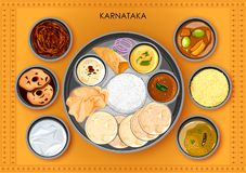 传统Karnatakan烹调和食物膳食thali 向量例证
