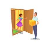 传讯者给妇女在家带来了包裹 主妇打开公寓的门并且遇见送货员 图库摄影