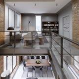 传说上有名与长沙发、饭桌和图书馆,露天场所,全景的顶楼两层的公寓 向量例证