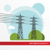 传输tower.transmission线 被隔绝的输电线载体 库存照片