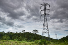 传输tower.transmission线 免版税库存照片