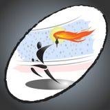 传送奥林匹克火炬的抽象运动员 向量例证