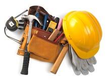 传送带安全帽工具 免版税库存照片