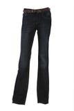 传送带牛仔布时装模特长裤 免版税库存照片