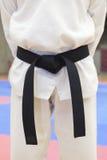 传送带黑色跆拳道 免版税库存照片
