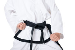 传送带黑色跆拳道 免版税库存图片