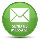 传送我们信息特别软的绿色圆的按钮 免版税库存图片
