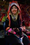 传统上加工好的Akha小山部落妇女 免版税库存照片