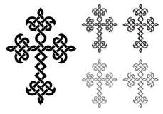 传统亚美尼亚使徒教会被设置的被打褶的十字架 向量例证