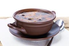 传统俄国肉汤和咸黄瓜 图库摄影