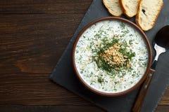 传统保加利亚语使在棕色碗的tarator变冷有立即可食的匙子和的面包的 库存图片
