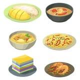 传统全国泰国烹调可口传染媒介例证的食物泰国亚洲板材烹调海鲜大虾 皇族释放例证