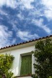 传统农村房子在爱琴海,莱斯博斯岛海岛,希腊 免版税图库摄影