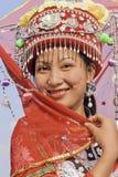 传统加工好的庄少数女孩,龙脊,中国 图库摄影