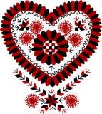 传统匈牙利葡萄酒心形的刺绣样式 免版税库存照片