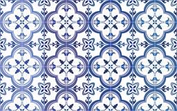 传统华丽葡萄牙语铺磁砖azulejos 也corel凹道例证向量 在蓝色上的4颜色变化 库存照片
