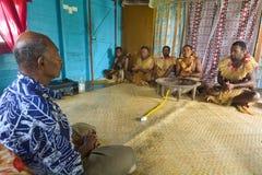 传统卡瓦仪式在斐济 免版税库存照片