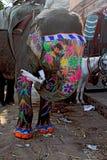 传统印地安人被绘的大象 免版税库存图片