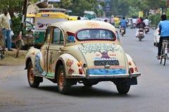 传统印地安车在艾哈迈达巴德 拍摄2015年10月25日在艾哈迈达巴德,印度 免版税图库摄影
